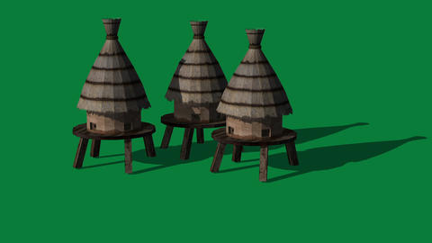 3d animation of beehives on green screen Animation