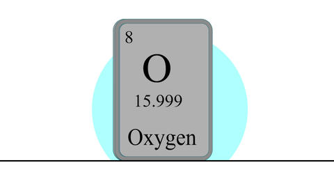 Oxygen. Element of the periodic table of the Mendeleev system Animation