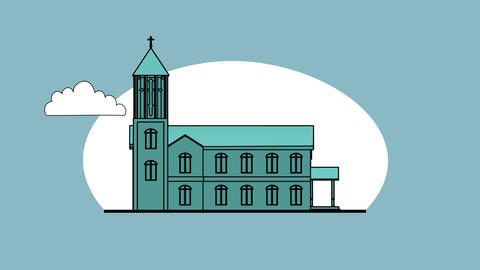 3d animation - render of church in flat cartoon style Animation