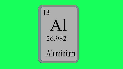 Aluminium. Element of the periodic table of the Mendeleev system on green screen Animation