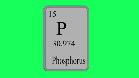 Phosphorus. Element of the periodic table of the Mendeleev system on green Animation