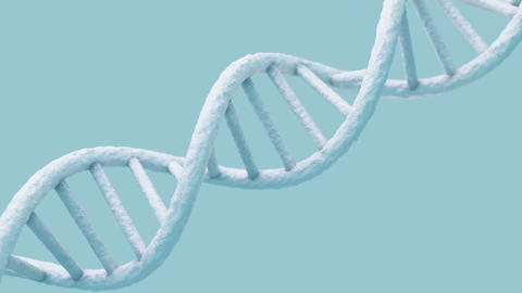 Realistic rotating DNA molecule on light blue background Animation