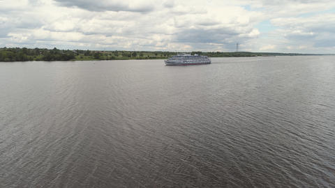 Cruise ship on the river Aerial view Photo