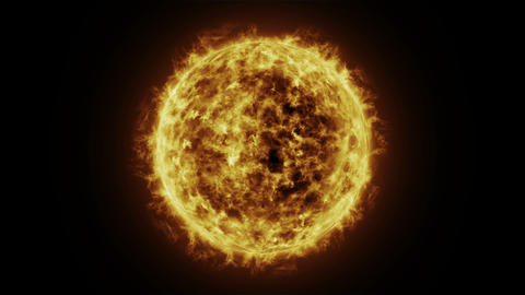Sun surface and Solar flares, Burning of the sun. 3D Animación
