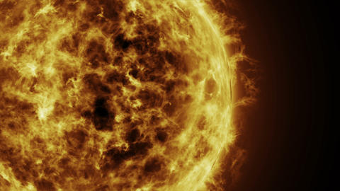 Sun surface and Solar flares, Burning of the sun. 3D Animation