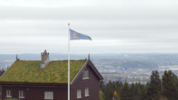 Traditional Norwegian House and Oslo Cityscape in the Horizon Footage