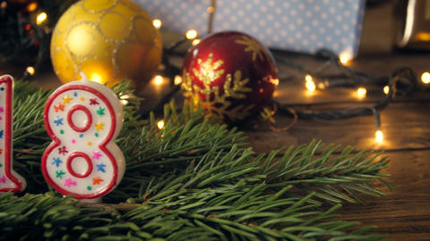 CLoseup 4k footage of camera moving over decorated Christmas table and focusing Footage