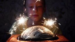girl and cake with fireworks Archivo