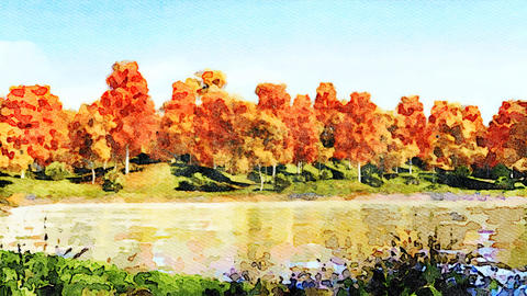 Watercolor autumn landscape on a forest lake shore Animación