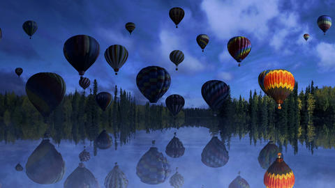 Evening Balloon Flight Animation