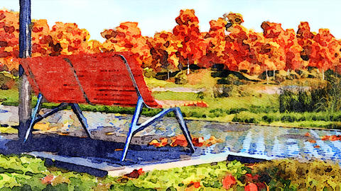 Empty bench in autumn park watercolor landscape Animación