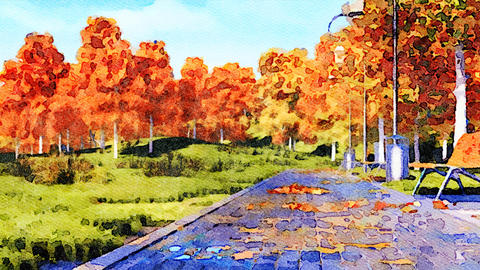 Empty walkway in autumn park watercolor landscape Animación