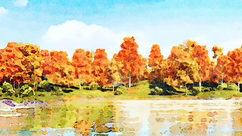 Autumn trees on a lake shore watercolor landscape Animación