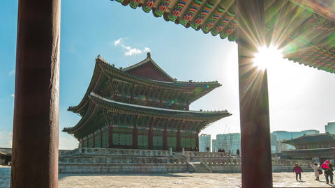 Gyeongbokgung landmark in Seoul, South Korea timelapse 4K Live Action