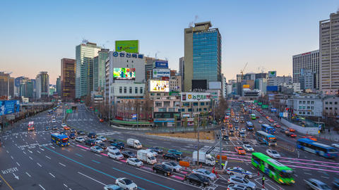 Traffic in Seoul city street in South Korea timelapse 4K Footage