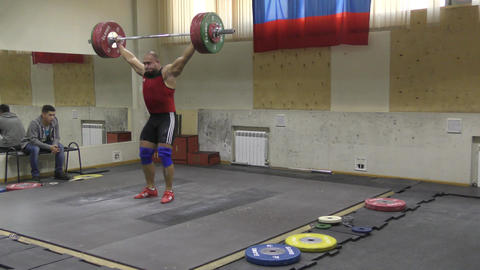 Orenburg, Russia - December 15-17, 2017 year: Boys compete in weightlifting Footage