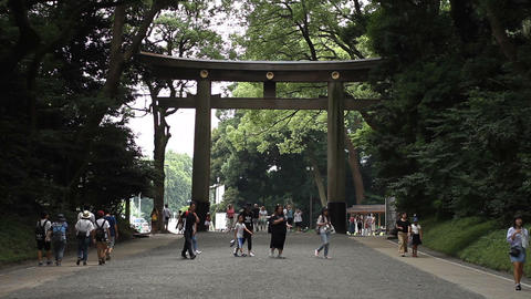 Main Torii at Meijijingu shrine in Tokyo medium shot hand-held Live Action
