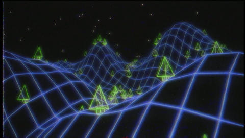Retro video game VHS tape 3d landscape vector arcade wireframe terrain 4k Live Action