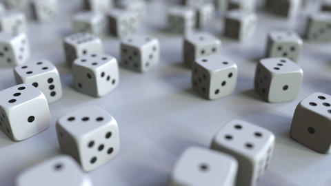 Dice with Japanese yen sign among scattered gambling dices. Forex success or Live Action