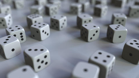 Dice with Dollar sign among scattered gambling dices. Forex success or finance Live Action