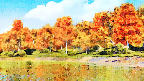 Autumn trees reflected in water watercolor landscape GIF