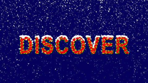 New Year text text DISCOVER. Snow falls. Christmas mood, looped video. Alpha Animation