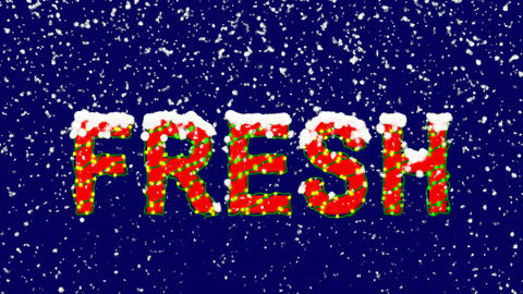 New Year text text FRESH. Snow falls. Christmas mood, looped video. Alpha Animation
