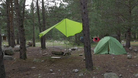 Panorama of a tourist camp in the forest. Panorama of a tourist camp in the Footage