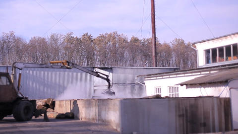 Processing of logs in the territory of the furniture factory Footage