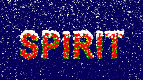 New Year text text SPIRIT. Snow falls. Christmas mood, looped video. Alpha Animation