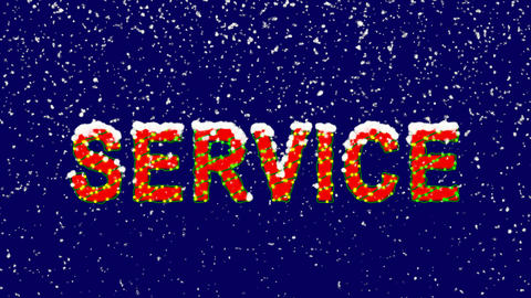 New Year text text SERVICE. Snow falls. Christmas mood, looped video. Alpha Animation