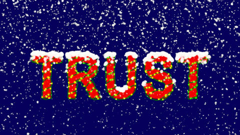 New Year text text TRUST. Snow falls. Christmas mood, looped video. Alpha Animation