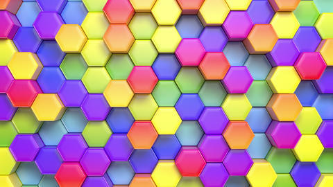 Abstract Hexagonal Multicolored Background Animation