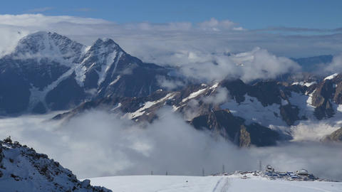 Beautiful view of the Main Caucasian Range. From the slopes of Elbrus, the point Footage