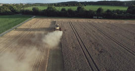 Combine Harevester Reaping Corn Drone Shot Live Action