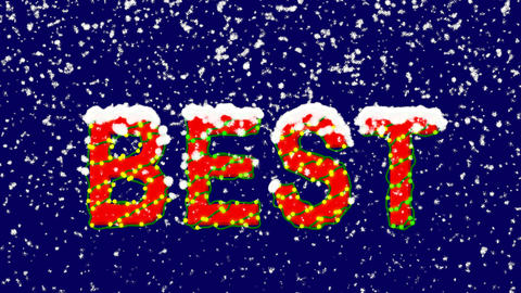 New Year text text BEST. Snow falls. Christmas mood, looped video. Alpha channel Animation