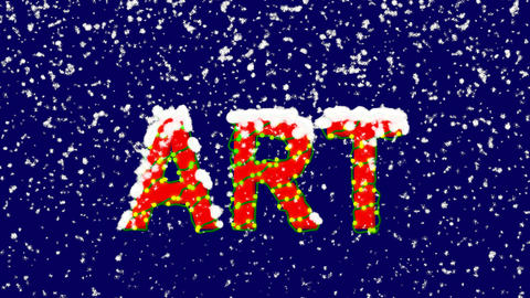 New Year text text ART. Snow falls. Christmas mood, looped video. Alpha channel Animation