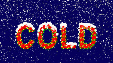 New Year text text COLD. Snow falls. Christmas mood,…, Stock Animation