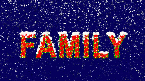 New Year text text FAMILY. Snow falls. Christmas mood, looped video. Alpha Animation