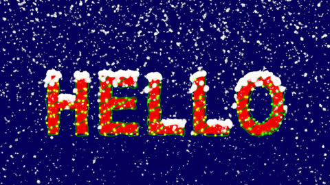 New Year text text HELLO. Snow falls. Christmas mood, looped video. Alpha Animation