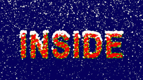 New Year text text INSIDE. Snow falls. Christmas mood, looped video. Alpha Animation