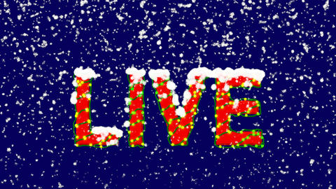 New Year text text LIVE. Snow falls. Christmas mood, looped video. Alpha channel Animation