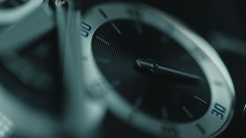 Luxury man watch detail, chronograph or timer close up. Time concept. Macro view Footage