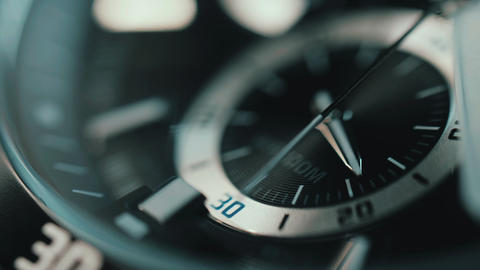 Beautiful luxury macro view of man watch. time lapse Footage