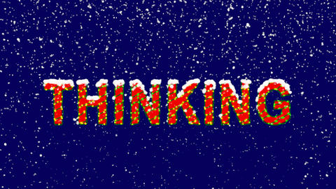 New Year text text THINKING. Snow falls. Christmas mood, looped video. Alpha Animation