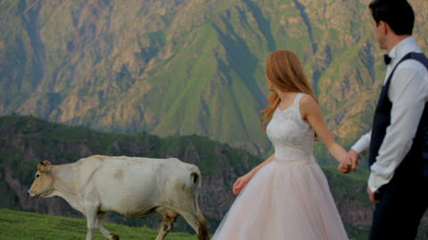 Cheerful newlyweds on a background of beautiful mountains, in the background a Footage