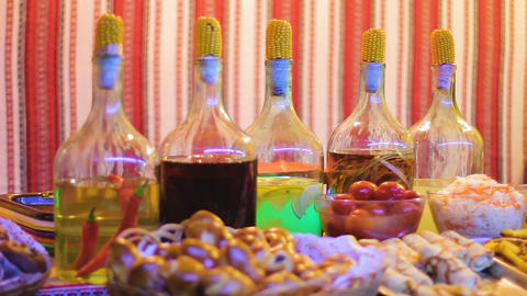 Variety of treats decorated at restaurant of traditional Ukrainian cuisine Footage