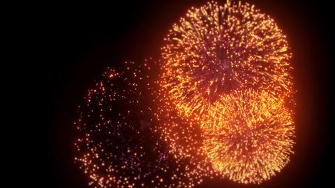 06. black Goldern Red Color Big Spectacle Fireworks Display Loop Backgroud Live Action