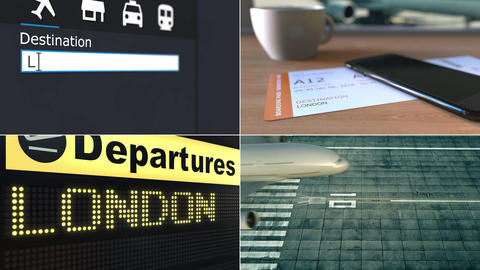 Flight to London. Traveling to the United Kingdom conceptual montage animation Footage
