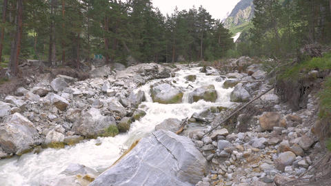 Destructive power of nature. Panorama of a mountain river. Consequences of Footage